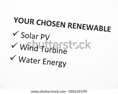 Renewable energy - Your choice