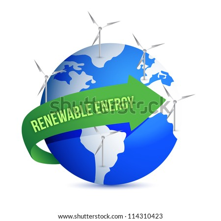 Renewal energy globe concept illustration design over white