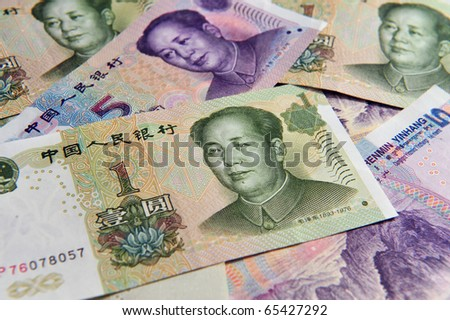 Renminbi, China Chinese money - one and five Yuan bank notes.  Concept photo of money, banking ,currency and foreign exchange rates.   - stock photo