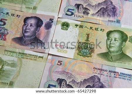 Renminbi, China Chinese money - one and five Yuan bills  Concept photo of money, banking ,currency and foreign exchange rates.