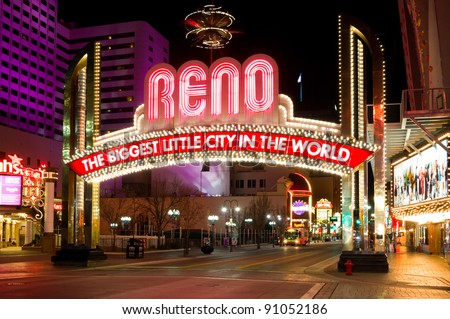RENO - DECEMBER 4: The Reno Arch on December 4, 2011 in Reno, Nevada. The original arch was built in 1926 to commemorate the completion of the Lincoln and Victory Highways. - stock photo