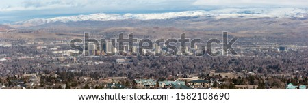 Reno, Nevada Pano with snow capped mountains #1582108690