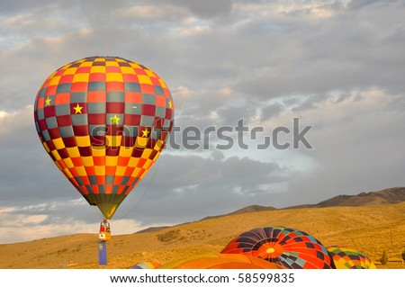 RENO, NEVADA - SEPT 12:Hot air balloons in flight Sept 12, 2009 in Reno. The Great Reno Balloon Race is the largest free hot air ballooning event in the US with more than 100 Balloons flying each year