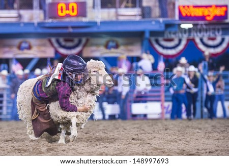 RENO , USA - JUNE 30 : A boy riding on a sheep during a Mutton Busting contest at the Reno Rodeo a Professional Rodeo held in Reno Nevada , USA on June 30 2013
