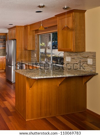 Renovated designer kitchen.