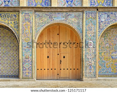 Renovated old gate, Golestan palace, Tehran, Iran
