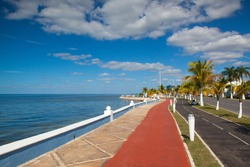 Renovated promenade on the sea shore in Campeche,Mexico. During the colonial period, the city was a rich and important port, but declined after Mexicoâ??s independence.