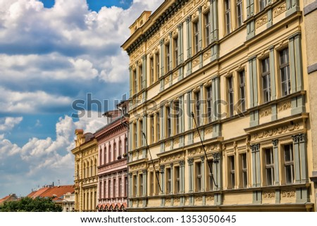 Renovated row of houses in Prague, Czech Republic