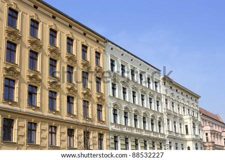 Renovated stucco facades