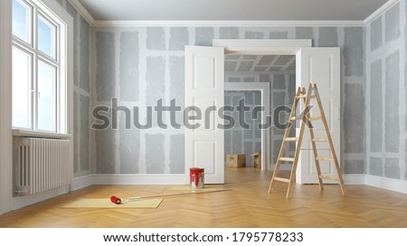 Renovation and modernization with drywall plaster in a walk-through room (3D Rendering)