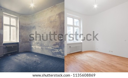 renovation  before and after  - empty apartment room, new and old,