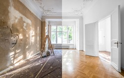 renovation concept - apartment before and after restoration or refurbishment -