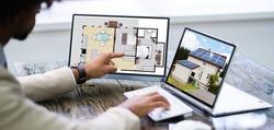 Renovation Management Assessor Using Laptop Monitor Screen
