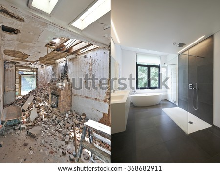 Renovation of a bathroom Before and after in horizontal format Stock foto ©