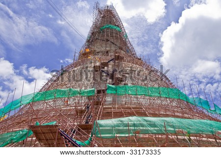 Renovation of old and famous pagoda in Thailand