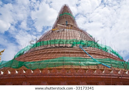 Renovation of old and famous pagoda in Thailand - stock photo