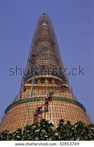 Renovation of old huge pagoda, Nakornpathom province, Thailand