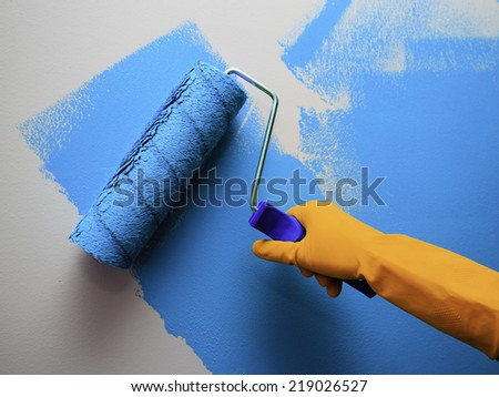 Renovation of the house - woman painting a wall in the room
