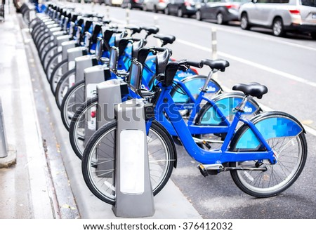 Rent of blue bikes in New York. stock photo