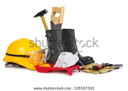 Repair accessories on white background, natural shadow among objects