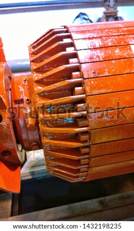 Repair and disassembly of the old electric motor. The electric motor rotor. Close up of electric motor maintenance work. #1432198235