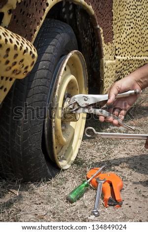 repair flat tire
