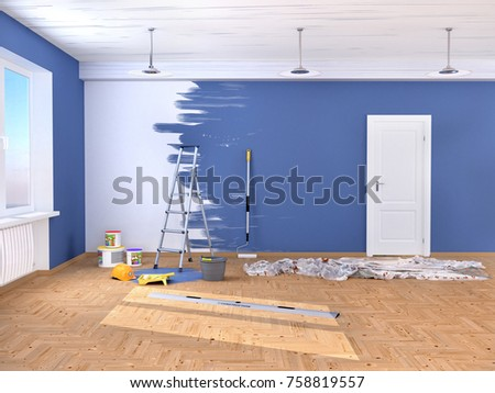 Repair in the room. Painting and plastering of walls. 3d illustration
