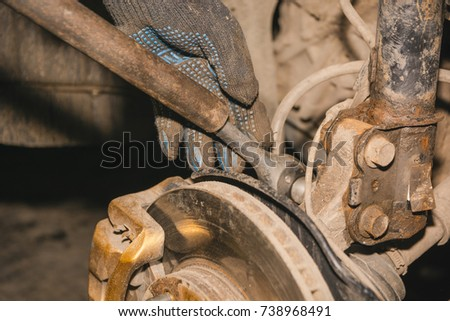 repair of a brake disk. brake disk of the car #738968491