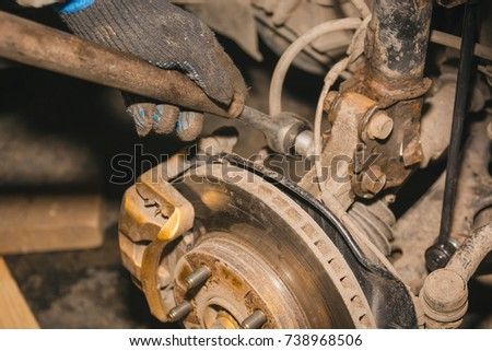 repair of a brake disk. brake disk of the car #738968506