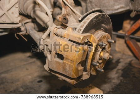 repair of a brake disk. brake disk of the car #738968515