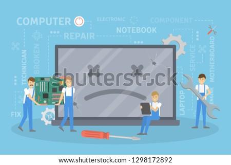 Repair of broken computer. People fixing the system. #1298172892