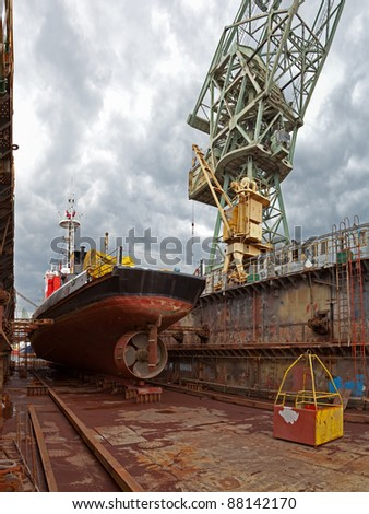Repair of the vessel at the dock. Gdansk, Poland.