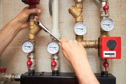 repair pipes with heat and pressure sensors of water supply