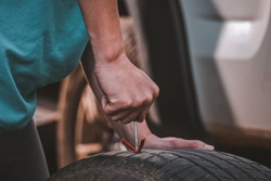 Repair Tires Recap patch a tyre ,Flat tire The tire is leaking from the nail Can a Tire be Repaired by self,Patch on a Punctured Tire