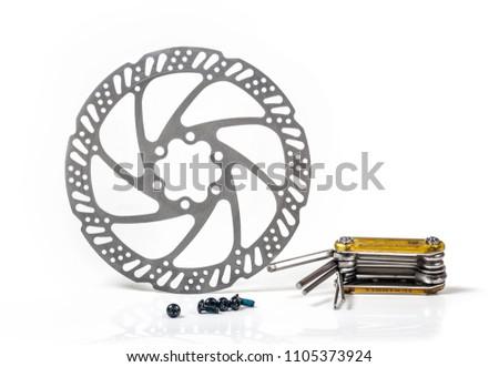 repair tool for repair bicycle wheel  brake disk close-up
