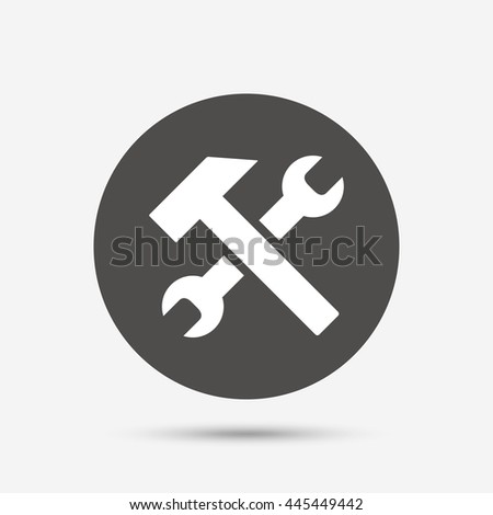 Repair tool sign icon. Service symbol. Hammer with wrench. Gray circle button with icon.
