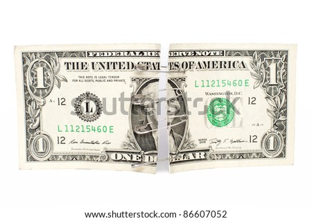 repaired Dollar, one dollar bill patched with safety pins