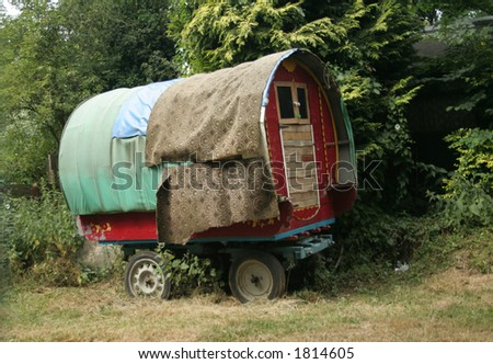 Repaired travellers caravan which was a home to a gypsy and used to be pulled by horses to travel around the countryside but sadly it is not in use anymore