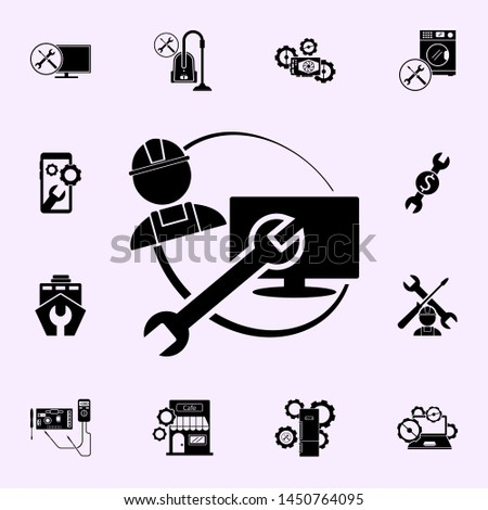 repairer, wrench, TV repair icon. Repair icons universal set for web and mobile