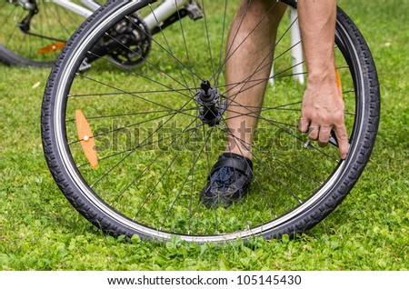 repairing a flat bicycle tire