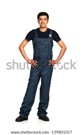 Repairman Arab nationality in the construction overalls on a white background with reflection