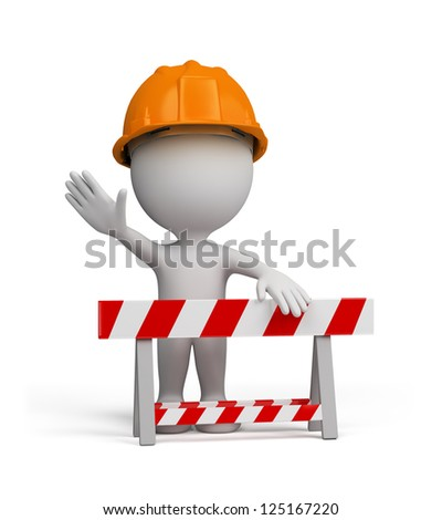 Repairman stands by the barrier. 3d image. Isolated white background.