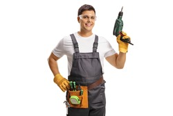 Repairman with protective goggles and a tool belt holding a drill isolated on white background