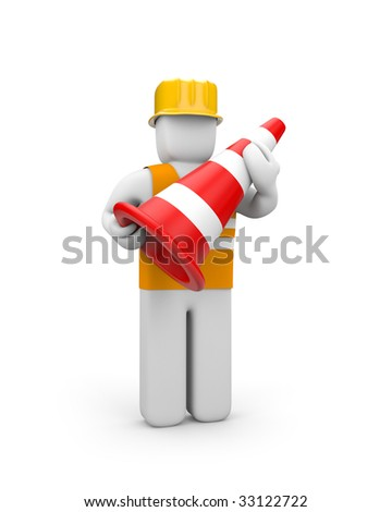 Repairman with traffic cone