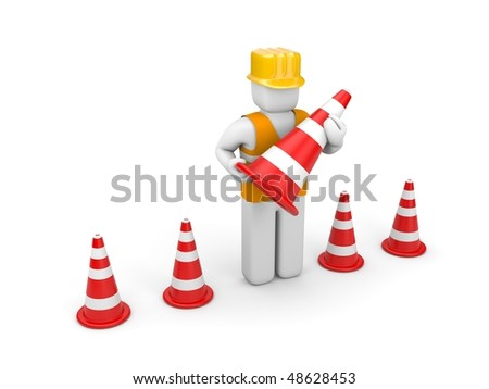 Repairman with traffic cones