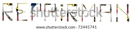 Repairman word made of different hand tools - stock photo