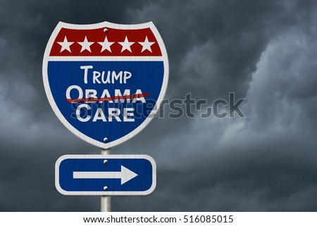 Repealing and replacing Obama Care healthcare insurance, Red, white and blue interstate highway road sign with words Trump Care with stormy sky background 3D Illustration