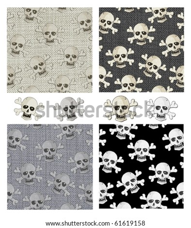 Repeat Seamless Skull Patterns and Icons. Use to help set the scene for Halloween.