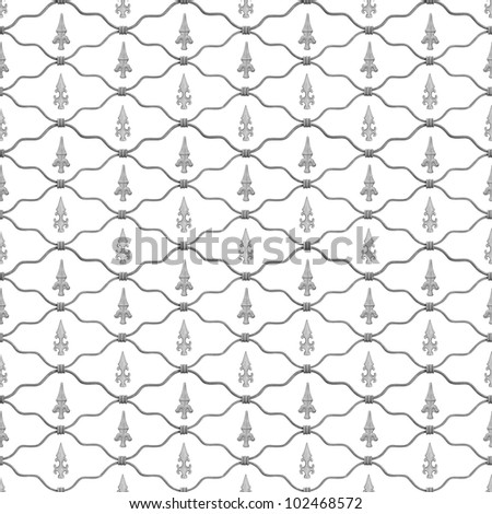 Repeatable fence  background with two fleur de lis signs in gray scale, isolated on white