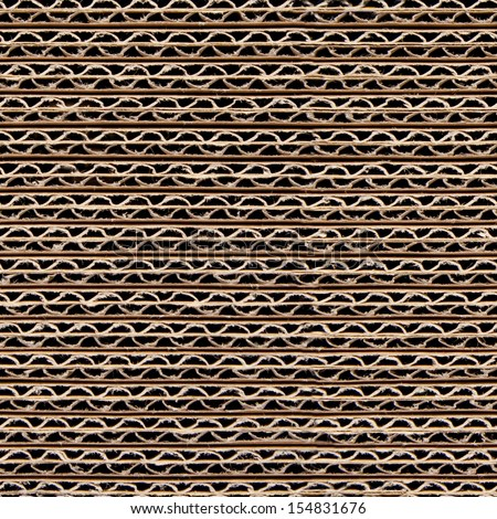 Repeating corrugated cardboard background texture. This picture is a tileable wallpaper that repeats left, right, up and down.